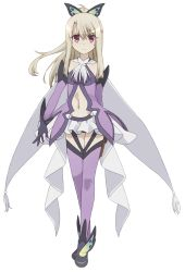 1girl black_gloves butterfly_hair_ornament cape cosplay detached_sleeves eyebrows_visible_through_hair fate/kaleid_liner_prisma_illya fate_(series) floating_hair full_body gloves hair_ornament high_ponytail highres holster illyasviel_von_einzbern long_hair looking_at_viewer magical_girl microskirt midriff miyu_edelfelt miyu_edelfelt_(cosplay) navel panties prisma_illya_(sapphire_version) purple_legwear purple_panties red_eyes silver_hair skirt solo standing stomach thigh_holster thighhighs underwear white_skirt