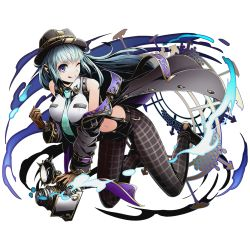 1girl aqua_necktie bare_shoulders between_breasts blue_eyes blue_hair breasts brown_gloves divine_gate floating_hair full_body gloves hat holding large_breasts long_hair midriff muneime navel necktie necktie_between_breasts official_art one_eye_closed sangeishin shadow shirt sleeveless sleeveless_shirt smile solo tongue tongue_out transparent_background ucmm very_long_hair white_shirt