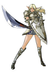 1girl armor blonde_hair boots elf gauntlets lineage lineage_2 long_hair long_legs pointy_ears shield solo sword weapon