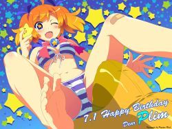 1girl ;d bandaid barefoot bikini blue_eyes blush bow breasts breasts_apart cleavage fang feet from_below front-tie_top gradient_hair looking_at_viewer looking_down multicolored_hair navel one_eye_closed open_mouth orange_hair plim pov_feet simple_background smile soles star star-shaped_pupils starry_background striped striped_bikini striped_swimsuit swimsuit symbol-shaped_pupils toes twinkle_soft watanabe_akio wink