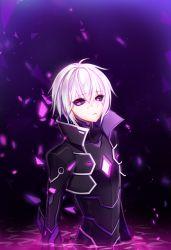 1boy add_(elsword) black_sclera bodysuit elsword haruya_(lajoon) highres male_focus popped_collar purple purple_background purple_eyes solo submerged white_hair
