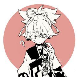 1boy ? bust japanese_clothes l_hakase lowres male_focus monochrome sayo_samonji solo touken_ranbu