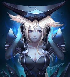 1girl blue_eyes breasts cleavage helmet league_of_legends lips lissandra liuruoyu8888 long_hair pale_skin solo white_hair