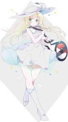 1girl bag bare_shoulders blonde_hair boots female full_body green_eyes hat highres lillie_(pokemon) matsudamaiko pokemon pokemon_(game) pokemon_sm skirt solo sun_hat