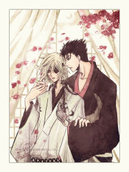2boys belialchan black_hair blonde_hair border crescent_moon curtains eyepatch faux_traditional_media fay_d_flourite flower hand_holding japanese_clothes kimono kurogane male moon multiple_boys ponytail short_hair signature touching tsubasa_chronicle watermark web_address white window yaoi yukata