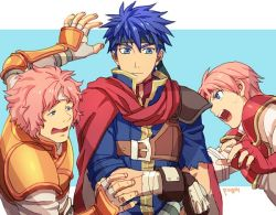 1girl 2boys angry arm_up armor bandage black_headband blue_clothes blue_eyes blue_hair brother_and_sister cape closed_mouth crossed_arms eye_contact fingerless_gloves fire_emblem fire_emblem:_souen_no_kiseki gloves hair_between_eyes headband ike knight light_blue_background looking_at_another makalov marcia matching_hair/eyes multiple_boys nervous nintendo open_mouth orange_armor pauldrons pegasus_knight pink_hair red_armor red_cape red_gloves red_tiara round_teeth sandwiched scared serious shouting siblings sweat teeth tiara upper_body white_headband