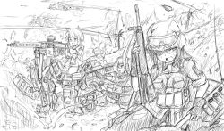 120mm_rheinmetall_l55 2boys 3girls animal_ears assault_rifle battle battle_rifle explosion gloves goggles goggles_on_head gun h&k_g3 headset helicopter helmet kneeling machine_gun mecha_musume mg3 military military_uniform military_vehicle multiple_boys multiple_girls ogitsune_(ankakecya-han) original panties pantyhose reclining rifle sketch soldier strike_witches strike_witches_1991 striker_unit tagme tail tank thighhighs torn_clothes torn_pantyhose underwear uniform vehicle war weapon