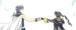 1boy 1girl ahoge black_hair blue_hair cape fire_emblem fire_emblem:_kakusei gloves hand_holding krom long_hair my_unit ponytail robe short_hair