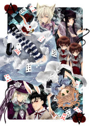 2girls 5boys alexa_pasztor alice_(wonderland) alice_in_wonderland animal_ears black_hair blonde_hair bow brown_hair bunny_ears card cat_ears caterpillar_(wonderland) cheshire_cat cosplay dual_persona falling_card fay_d_flourite flower green_eyes highres holding holding_card ichihara_yuuko kurogane kurogane_(tsubasa_chronicle) li_xiaolang mad_hatter march_hare mokona multiple_boys multiple_girls petticoat pocket_watch red_eyes rose sakura_hime single_shoe striped striped_legwear thighhighs tsubasa_chronicle tweedledee tweedledum watch white_rabbit white_rose xiaolang