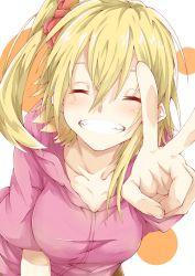 1girl blonde_hair breasts eyes_closed highres hoodie jun700 kagerou_project kisaragi_momo long_hair side_ponytail smile solo v